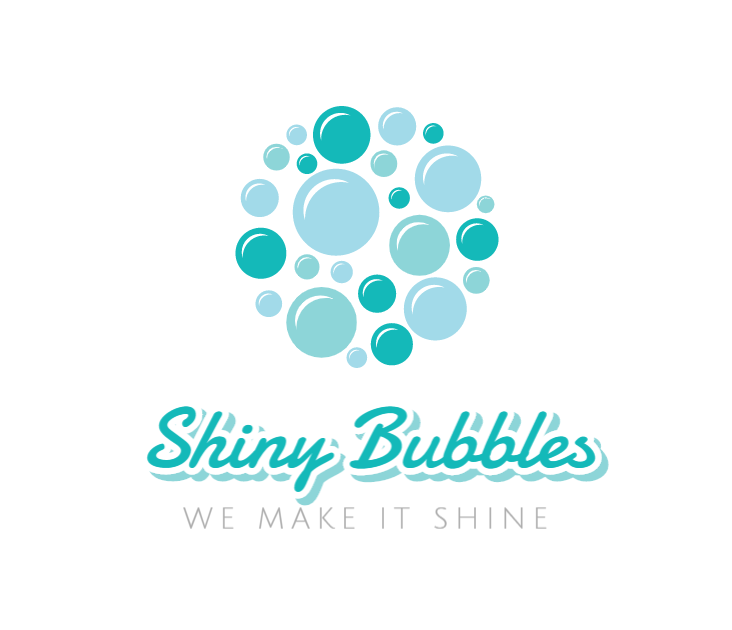 cleaning services logo example shiny bubbles