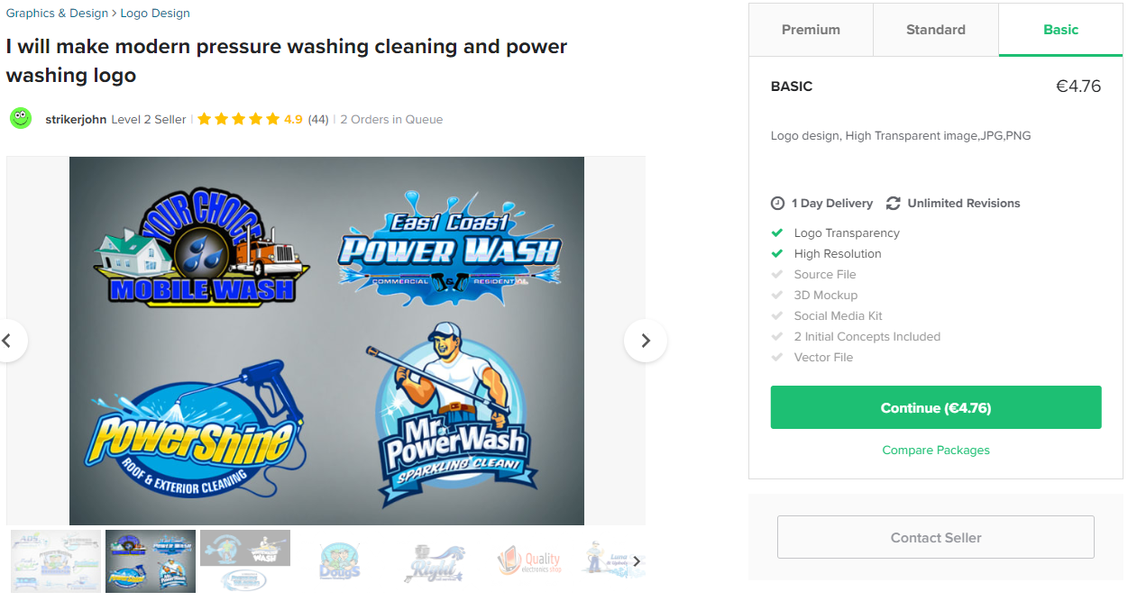 cleaning services logo example on fiverr.com