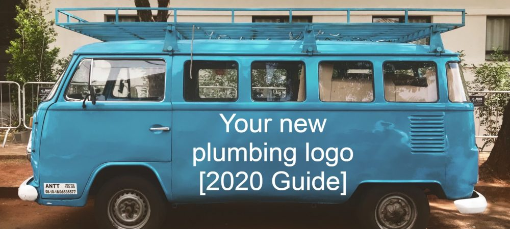 Your new plumbing logo (2020 guide) - text on a blue VW van