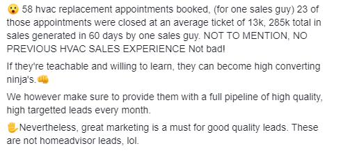 HVAC lead generation - Fb group post